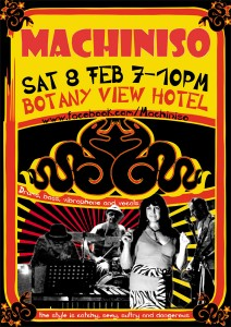 Next Machiniso gig - Botany View Hotel Sat 8th Feb