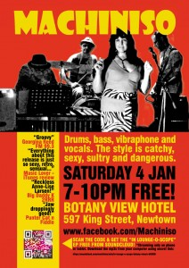 Machiniso is returning to the Botany View Hotel on Saturday 4th January. 7-10pm FREE!