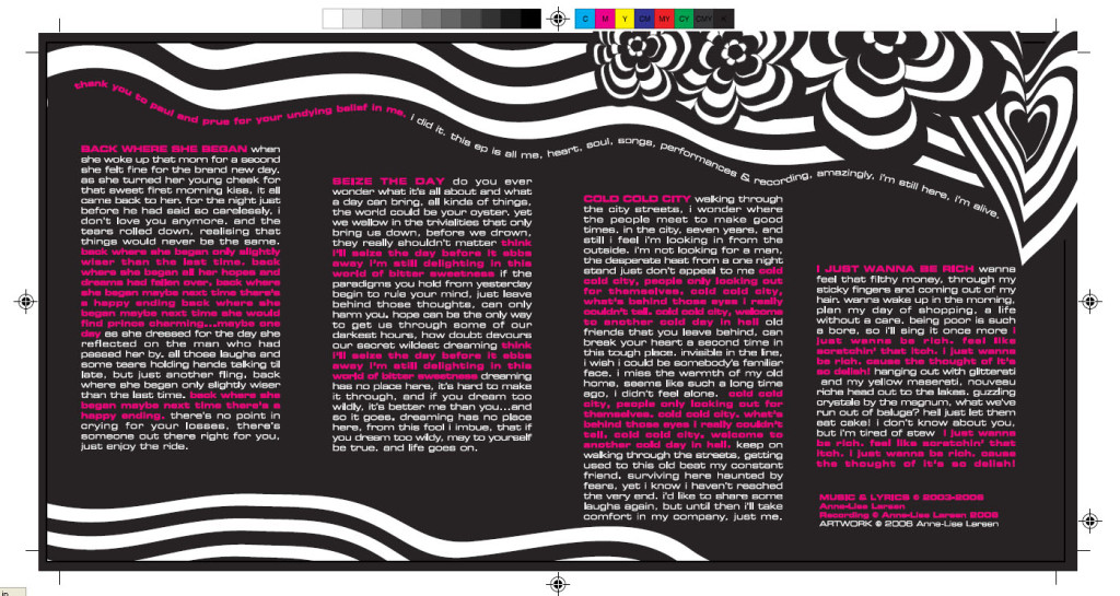 The inside sleeve with lyrics from the I'm Alive EP.